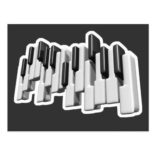 diseño de las llaves de teclado de piano tarjeta postal