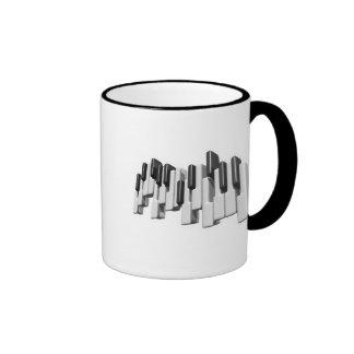 diseño de las llaves de teclado de piano tazas