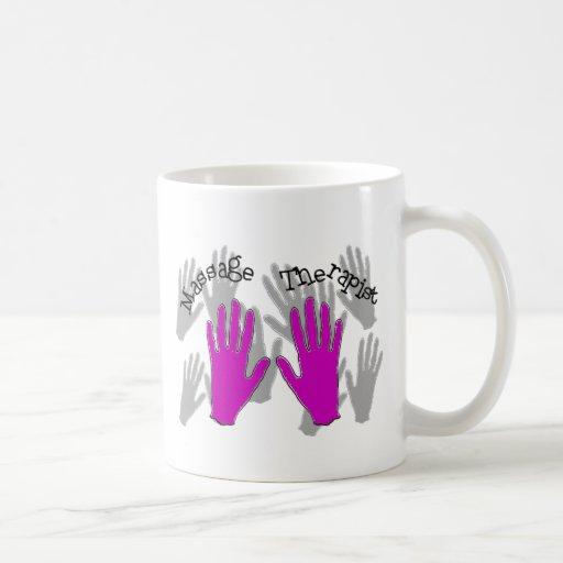 Diseño de las manos del ROSA del terapeuta del mas Taza De Café