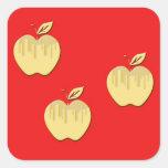 Diseño de las manzanas calcomanía cuadrada
