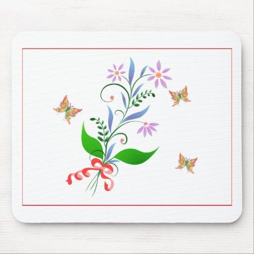 Diseño de las mariposas y de las flores alfombrillas de raton