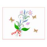 Diseño de las mariposas y de las flores tarjetas postales
