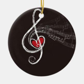 Diseño de las notas musicales adorno navideño redondo de cerámica