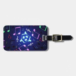 Diseño de las notas musicales etiqueta de equipaje