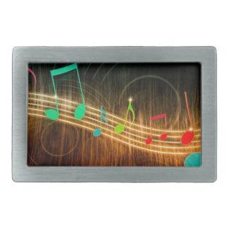 Diseño de las notas musicales hebilla cinturón rectangular