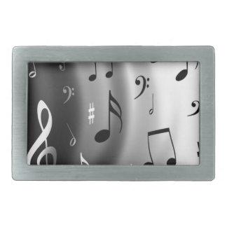 Diseño de las notas musicales hebilla cinturon rectangular