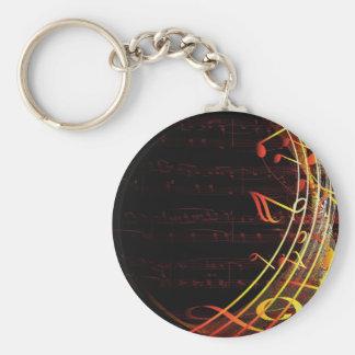 Diseño de las notas musicales llavero redondo tipo pin