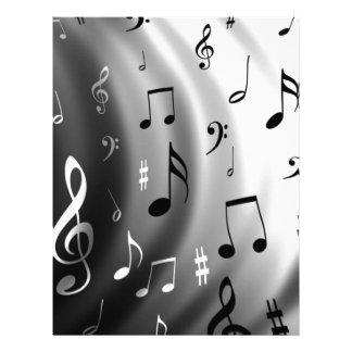 Diseño de las notas musicales membrete a diseño