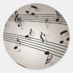 Diseño de las notas musicales pegatina redonda