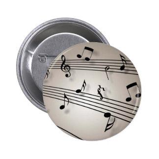 Diseño de las notas musicales pin redondo de 2 pulgadas