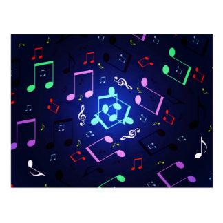 Diseño de las notas musicales postales