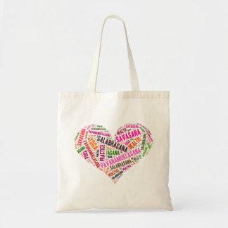 Diseño de las palabras de la forma del corazón de bolsa tela barata