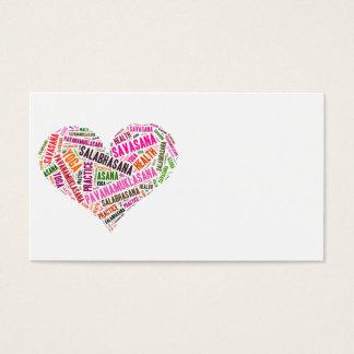 Diseño de las palabras de la forma del corazón de tarjetas de visita