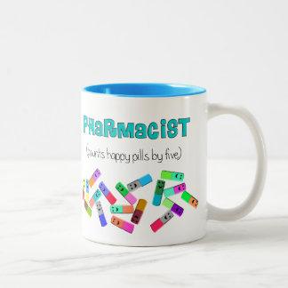 Diseño de las píldoras felices de la farmacia taza de café