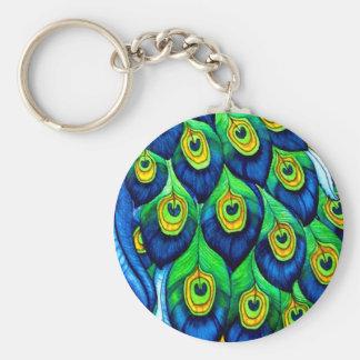 Diseño de las plumas del pavo real llavero redondo tipo pin
