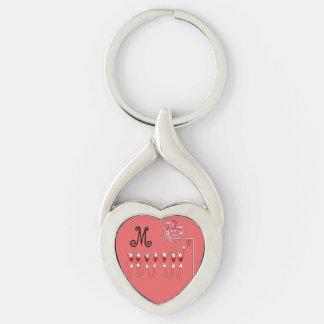 Diseño de las posiciones del Netball del amor Llavero Plateado En Forma De Corazón