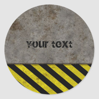 Diseño de las rayas del peligro etiqueta redonda