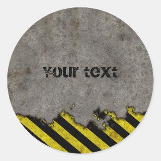 Diseño de las rayas del peligro etiquetas redondas