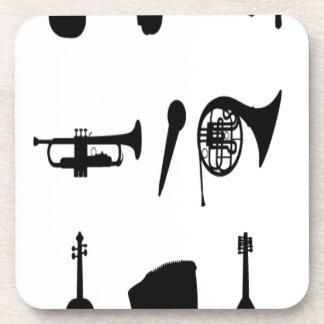 Diseño de las siluetas de los instrumentos musical posavaso