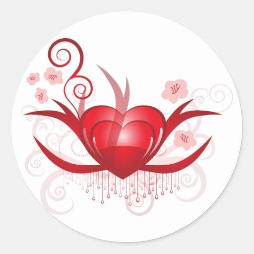 Diseño de las tarjetas del día de San Valentín Pegatina Redonda