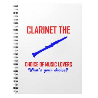 Diseño de los amantes del Clarinet Libretas Espirales