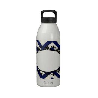 Diseño de los azules marinos de Monogramable Botella De Agua
