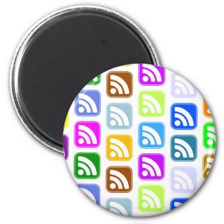 Diseño de los botones del multicolor del RSS Imán Redondo 5 Cm