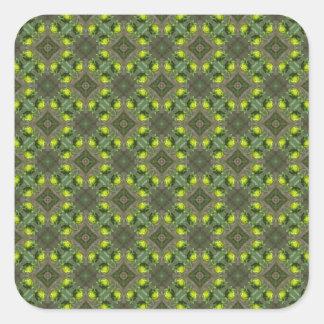 Diseño de los brotes de flor pegatina cuadrada