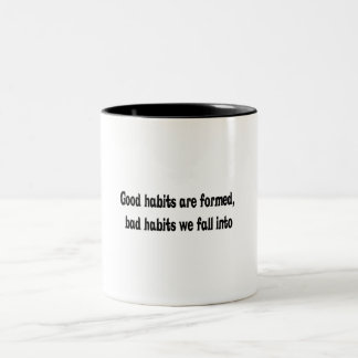 Diseño de los buenos y malos hábitos taza de café de dos colores