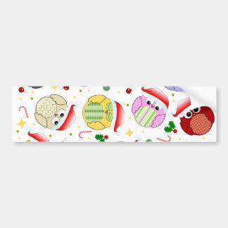 Diseño de los búhos del navidad pegatina de parachoque