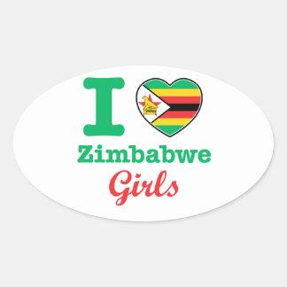 Diseño de los chicas de Zimbabwe Pegatina Ovalada