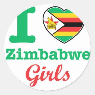 Diseño de los chicas de Zimbabwe Pegatina Redonda