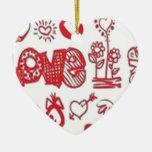 Diseño de los corazones de los amantes adornos de navidad