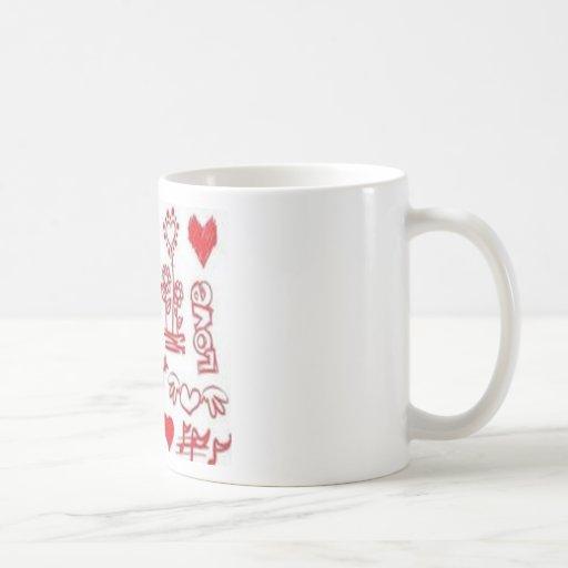 Diseño de los corazones de los amantes taza