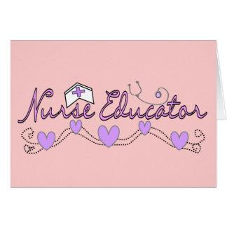 Diseño de los corazones del rosa del educador de l felicitacion