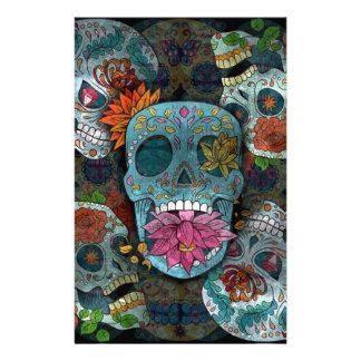 Diseño de los cráneos del azúcar papelería personalizada