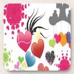 Diseño de los ejemplos de los corazones posavasos de bebida
