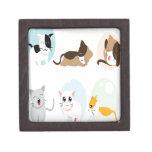 Diseño de los gatitos del vector cajas de recuerdo de calidad