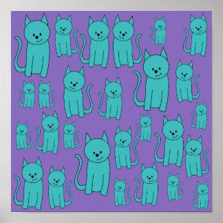 Diseño de los gatos en colores enrrollados impresiones