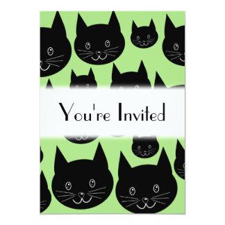 """Diseño de los gatos en negro y verde invitación 5"""" x 7"""""""