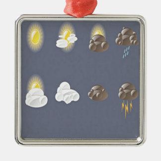 Diseño de los iconos del tiempo adorno navideño cuadrado de metal