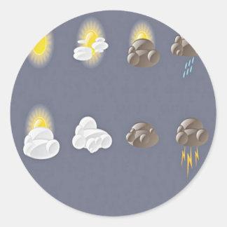 Diseño de los iconos del tiempo pegatina redonda