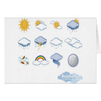 Diseño de los iconos del tiempo tarjeta de felicitación