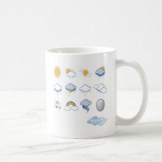 Diseño de los iconos del tiempo taza clásica