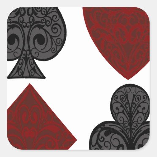 Diseño de los juegos del naipe pegatina cuadrada