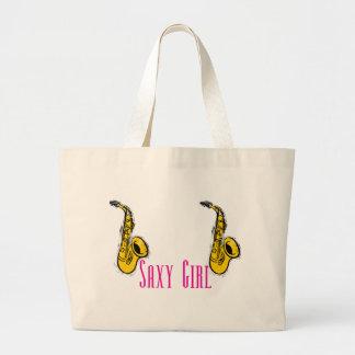 Diseño de los jugadores de saxofón del rosa del ch bolsas de mano