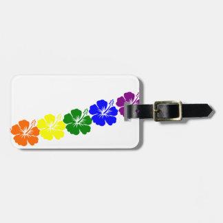 Diseño de los leus del hibisco del arco iris etiquetas bolsa