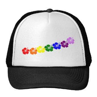 Diseño de los leus del hibisco del arco iris gorro de camionero