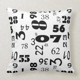 Diseño de los números en blanco y negro cojín