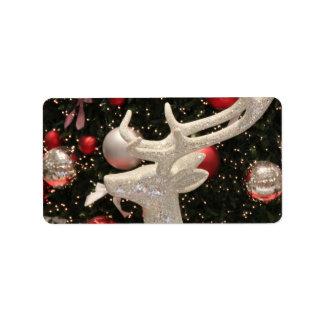 Diseño de los ornamentos del árbol de navidad del  etiquetas de dirección